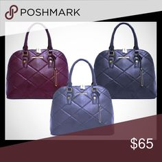 Adrienne Vittadini Quilted Dome Satchel A Quilted Dome Satchel in a beautiful smooth Saffiano vegan leather. Double Handle with structured zippered closure. Has interior accessory pockets, signature zipper pulls and multiple compartments. A classic look with a modern twist. FEATURES:  Merlot in color (bergundy)/Quantity: 1 *I do not have black or gray*  Smooth, high-quality PU leather. Zippered closure. Fully-lined interior with accessory pockets and multiple compartments. Metal feet on…