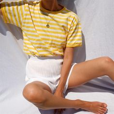 Vintage lemon striped 100% cotton tee with front pocket