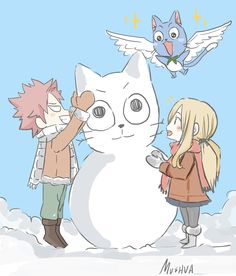 Natsu, Lucy and Happy >~<
