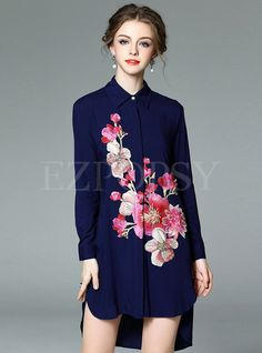 Shop for high quality Asymmetric Embroidery Cotton Blouse online at cheap prices and discover fashion at Ezpopsy.com