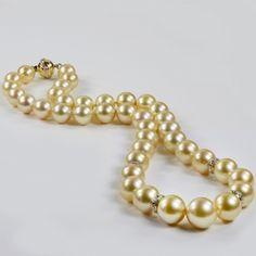 Golden South Sea Pearl Strand NecklaceDiamonds 14k Y Gold 10-13mm - Allurez.com
