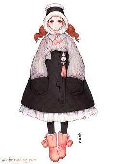 남바위 + 꽈배기니트 가디건 + 누비치마 + 어그부츠 조합으로걸리쉬한 겨울 한복을 그려보았습니다. 블로그...
