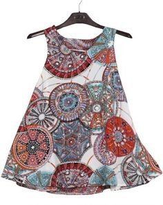 White Sleeveless Geometric Print Mini Dress
