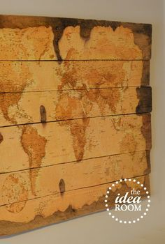 Wood Pallet Map Tutorial | Break out the Mod Podge for this rustic and hands-on DIY wall art tutorial.