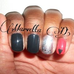 deep gray, silver, and orange mix and match nail art    #nails #nailart