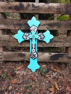 Black Damask & Bahama Blue, Triple Stack Wall Cross, Western Decor, Rustic, Western Shabby Chic, Womens, Layered, Black and White, Turquoise...