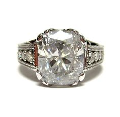 5.1ct Antique Vintage CUSHION Cut DIAMOND ENGAGEMENT Wedding Anniversary Ring Natural 14k.  for when nothing but the best won't do for you're lady.....