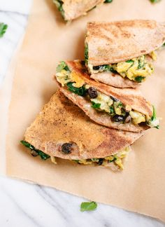 Breakfast Quesadillas with Scrambled Eggs, Spinach and Black Beans