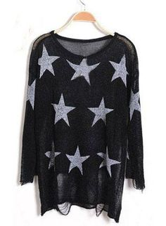 Black Star Print Long Sleeve Ripped Distressed Jumper S035,  Sweater, Black Star Print Long Sleeve Ripped, Chic