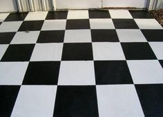 Black/White epoxy checkered flooring.  Repin & Click For More Info or Quote @ Your Home / Business