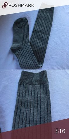 """2/$24. Thigh High Socks-Gray New! Ribbed thigh high socks. 100% cotton. Will fit up to S/M.  I'm 5'4"""" & the sock ends about 3"""" over my knee. Also available in brown. Accessories Hosiery & Socks"""