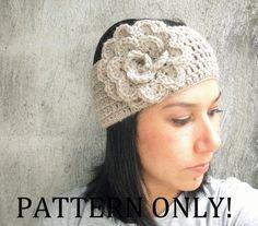 PDF PATTERN Crochet Flower Headband Earwarmer DIY by LanadeAna