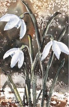 Hand Painted Card- snowdrops 3 by WendyPowellJonesArt on Etsy