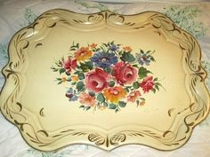 Large French Vanilla Country Cream Hand Painted Signed Floral Vintage Tole Tray | eBay