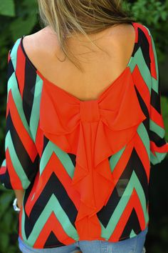 I Love You So Chevron Top: Red/Green