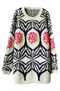 Roses Knitted Loose Jumper