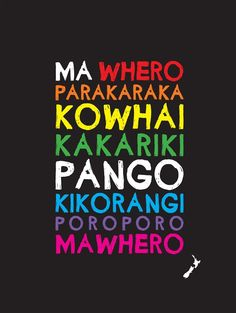 Canvas Print of all the colours in Maori.