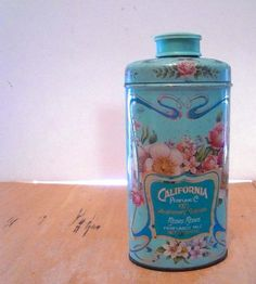 Vintage Talc Powder Tin Lithograph California by #vintagereinvented,  (l;ove these old talc tins)