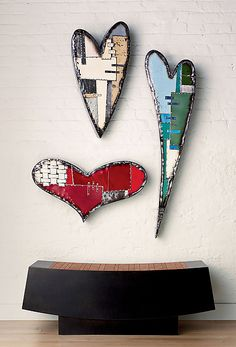 Classic Heart by Anthony Hansen: Metal Wall Sculpture available at www.artfulhome.com Hansen finds beautiful and bold new purpose for recycled sheet metal, viewing each scratch and spot of rust as a treasure of visual texture, lending warm character to the final piece.