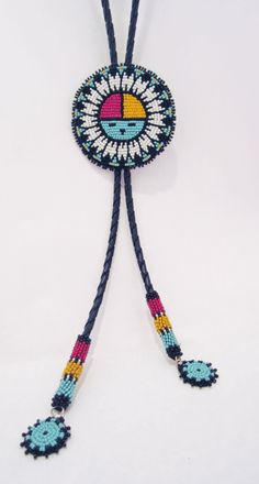 Native American beaded bolo tie with a by AuthenticNativeMade, $98.00