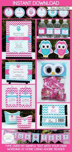 Owl+Birthday+Party++INSTANT+DOWNLOAD+full+Birthday+by+SIMONEmadeit,+$14.95