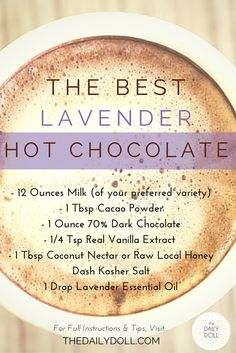 The Best Lavender Hot Chocolate Recipe, by The Daily Doll -- delicious, vegan, paleo and indulgent | TheDailyDoll.com