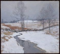 """The First Snow,"" Willard Leroy Metcalf, 1906, oil on canvas, 25 7/8 x 29"", Museum of Fine Arts, Boston."