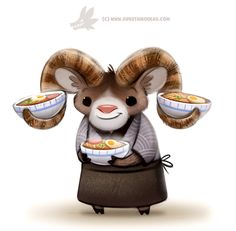 Daily Paint 1289. Ram-en Chef by Cryptid-Creations.deviantart.com on @DeviantArt