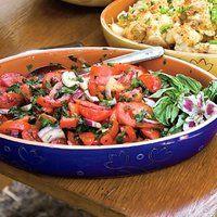 Tomato and onion salad   http://www.rachaelraymag.com/Recipes/rachael-ray-magazine-recipe-search/salad-recipes/tomato-salad