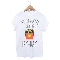 weißes T-Shirt mit Typo/Druck // white t-shirt with print my favourite day is fry-day via DaWanda.com