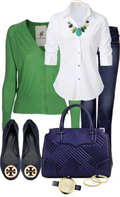 Basic preppy in navy and green. I like all of this.