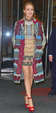 "Blake Lively's Most Stylish Looks From the Age of Adaline Press Tour | STYLE GENIUS  | Blake visited the Apple store for a ""Meet the Filmmaker"" event on Wednesday in an outfit fitting for the theme of her tour: busy. She paired her embroidered patchwork Valentino mini dress and coat with bright red T-strap Charlotte Olympia platforms."