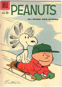 """Snoopy """"flying"""" down the hill on Charlie Brown"""