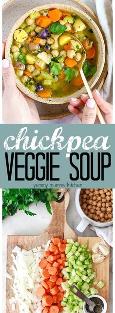 This vegetable soup with chickpeas is so easy and delicious! Add noodles for a vegetarian and vegan chicken noodle soup recipe. Instant Pot instructions are included for this easy veggie soup.