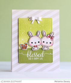 mama elephant: Deasy made a very adorable card with a couple bunny being portrayed having blessed for happy life. The sentiment is from Blessed stamp set and accessories for the couple bunny is from Shooting Star stamp set (ribbon)and Honey Bunny stamp set