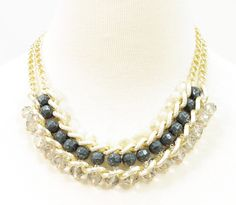 GOLD CHAIN LAYERED WITH STONES ADJUSTABLE NECKLACE