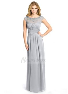 A-Line/Princess Scoop Neck Floor-Length Ruffle Lace Beading Sequins Chiffon Zipper Up Cap Straps Sleeveless 2015 Silver Spring Summer Fall General Mother of the Bride Dress
