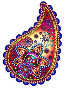 Le paisley est un motif indien en forme de goutte d'eau avec différentes variantes contenant des arabesques, des fleurs et des tiges à l'intérieur et à l'extérieur du paisley. Il est appelé aussi motif cachemire et on peut le retrouver sur les tissus indiens.