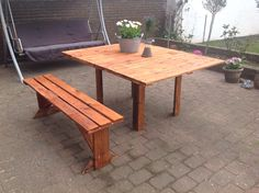 Table and bench out of wooden pallets