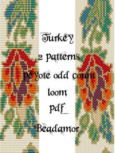 2 Patterns for bracelet peyote and loom : Turkey INSTANT