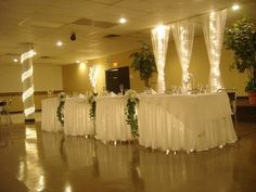 Lighted Wedding Reception - It's amazing what a few inexpensive white christmas lights will do!