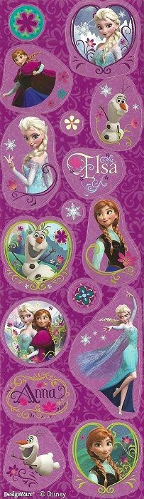 5 x Noël autocollant feuilles snow ice frozenn Princesse Noël Fille Stocking Filler