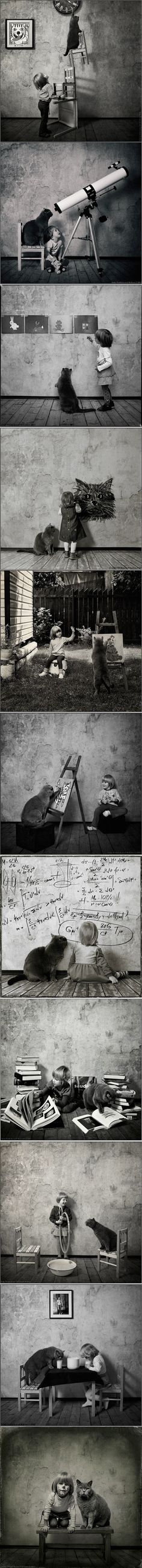 Belle amitié entre un enfant et son chat