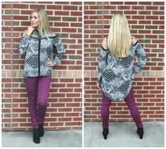 Colored jeans paired with a fun sheer blouse is always a great combo for those chilly fall temps!
