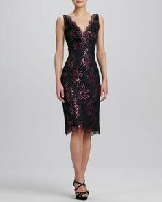 Kalinka Pink Metallic Floral Lace Cocktail Dress on shopstyle.com