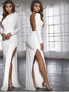 backless women long party dress vestidos spring long sleeve high side split bodycon maxi dress elegant white black Nadafair backless women long party dress vestidos spring long sleeve h - chicmaxonline Dresses Elegant, Formal Dresses For Women, Sexy Dresses, Prom Dresses, Summer Dresses, Wedding Dresses, Pretty Dresses, Casual Dresses, Midi Dresses