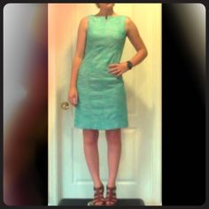 Robin's egg blue sheath dress Light blue, tweed sheath dress great for work, weddings, Easter, and more. Super flattering cut. Talbots Dresses