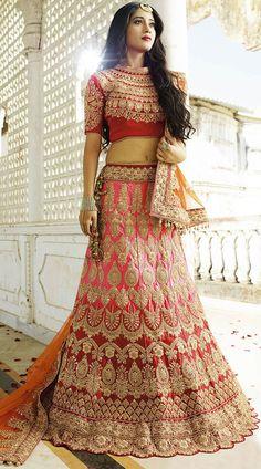 Shivangi Joshi Pink Satin Bridal Lehenga With High Neck Choli   #indiabazaaronline #LehngaCholi #SemiBridalLehenga #Pink #Lehnga #ALineLehenga #CropTopLehenga #EmbroideredLehenga #ShortCholiLehenga #weddinglehengacholi #BollywoodCollection #DesignerLehengaCholi #royalcollection #bridallehenga