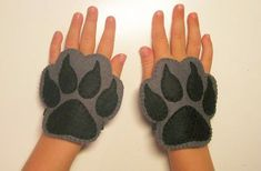 Wolf felt mask tail paws set for kids 2-10 years Grey White