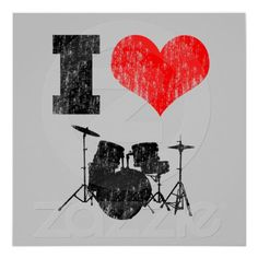 I Love Drums Distressed Poster